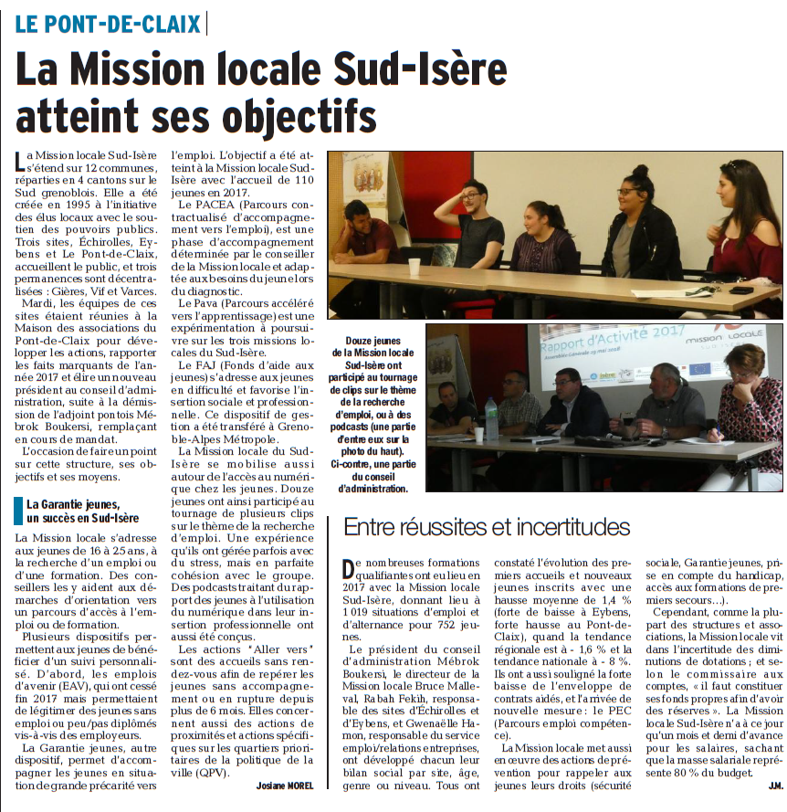 Assemblée Générale Mission Locale Sud Isère 2018